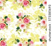 seamless floral pattern with... | Shutterstock .eps vector #573385693