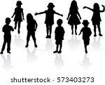 vector silhouette of children... | Shutterstock .eps vector #573403273