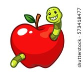 Apple Fruit With Worm Vector.