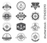 nautical and sailing badges and ... | Shutterstock .eps vector #573420193