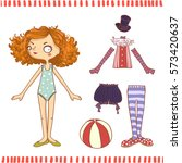 cute dress up paper doll.... | Shutterstock .eps vector #573420637
