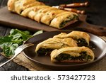 homemade puff pastry pie with... | Shutterstock . vector #573427723