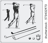vector set of golf players and... | Shutterstock .eps vector #573432973