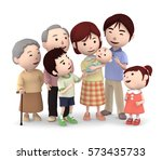 3d illustration  big family... | Shutterstock . vector #573435733