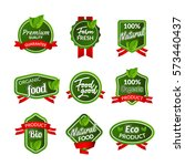 organic health food badge seal... | Shutterstock .eps vector #573440437