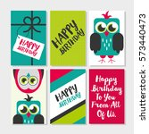 set of 6 cute creative cards... | Shutterstock . vector #573440473