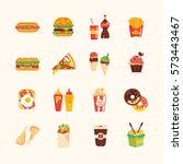 fast food cafe menu   set of... | Shutterstock . vector #573443467