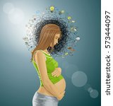 vector pregnant female with...   Shutterstock .eps vector #573444097