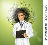 vector doctor man writing...   Shutterstock .eps vector #573444193