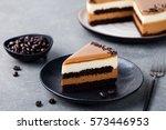 caramel cake  mousse dessert on ... | Shutterstock . vector #573446953
