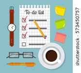 piece of paper with to do list... | Shutterstock .eps vector #573450757