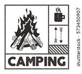 wanderlust camping stamp. old... | Shutterstock .eps vector #573450907