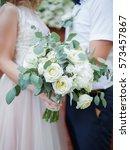 wedding bouquet of flowers in...   Shutterstock . vector #573457867
