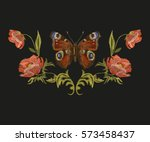 embroidery colorful floral... | Shutterstock .eps vector #573458437