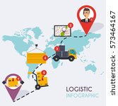 logistic infographics. set of... | Shutterstock .eps vector #573464167