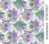 seamless pattern with bouquets... | Shutterstock .eps vector #573473317