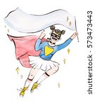 super hero girl with blank... | Shutterstock . vector #573473443