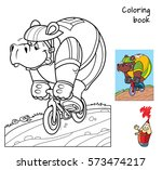hippo rides a bike. coloring... | Shutterstock .eps vector #573474217