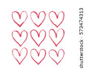 set of hand drawn hearts.... | Shutterstock .eps vector #573474313