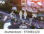 car sharing angle high traffic... | Shutterstock . vector #573481123