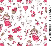 valentine seamless pattern with ... | Shutterstock .eps vector #573482077