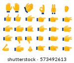 set of hands emojis and icons.... | Shutterstock .eps vector #573492613