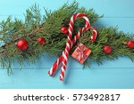 christmas decorations and...   Shutterstock . vector #573492817