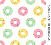 Stock vector donuts seamless pattern on white background cute sweet food baby background colorful design for 573494647