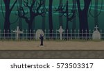 graveyard background for horror ... | Shutterstock .eps vector #573503317