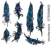 set of ornamental feather ... | Shutterstock . vector #573506803