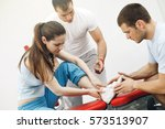 woman sprained her ankle in the ... | Shutterstock . vector #573513907
