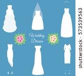 fashion wedding dresses models. ... | Shutterstock .eps vector #573539563