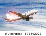 airplane flying in the sky | Shutterstock . vector #573542023