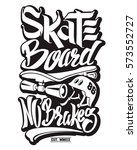 Skate Board Typography  T Shir...