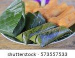jackfruit with sticky rice call ... | Shutterstock . vector #573557533