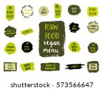 retro set of 100  bio  organic  ... | Shutterstock .eps vector #573566647