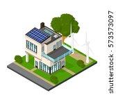 isometric luxury eco house with ... | Shutterstock .eps vector #573573097