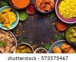 assorted indian food on dark... | Shutterstock . vector #573575467