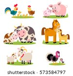 big set isolated farm birds ... | Shutterstock .eps vector #573584797