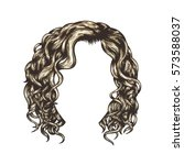 blonde curly hairstyle. hand... | Shutterstock .eps vector #573588037