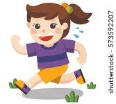 a cute girl running around the... | Shutterstock .eps vector #573592207