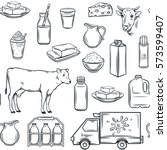 hand drawn milk product... | Shutterstock .eps vector #573599407