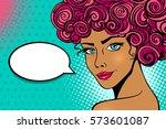 pop art female face. sexy sun... | Shutterstock .eps vector #573601087