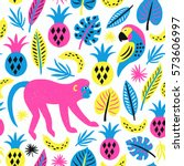 monkey seamless pattern.... | Shutterstock .eps vector #573606997