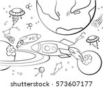 space with planets  rockets ... | Shutterstock .eps vector #573607177