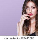 beauty girl face portrait red... | Shutterstock . vector #573619003
