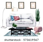 living room design with natural ... | Shutterstock . vector #573619567
