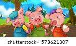 cartoon scene three pig... | Shutterstock . vector #573621307