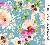 seamless summer pattern with... | Shutterstock . vector #573624817