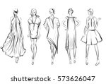 sketch. fashion girls on a... | Shutterstock .eps vector #573626047